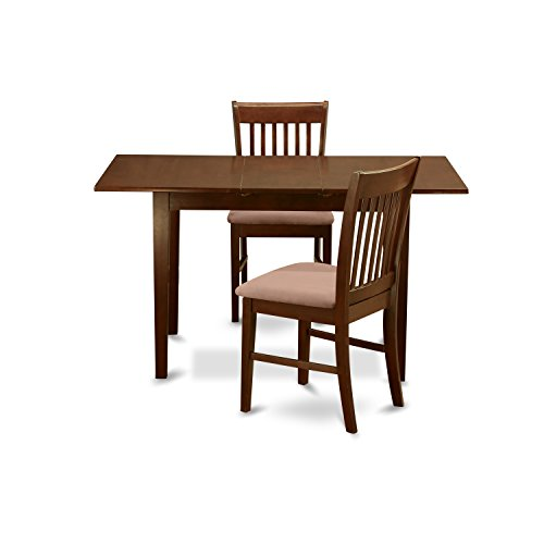 East West Furniture NOFK3-MAH-C 3-Piece Dinette Table Set