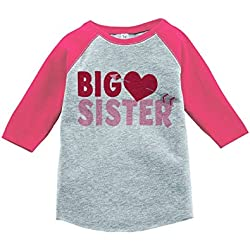 Custom Party Shop Girl's Big Sister Happy Valentine's Day 4T Pink Raglan