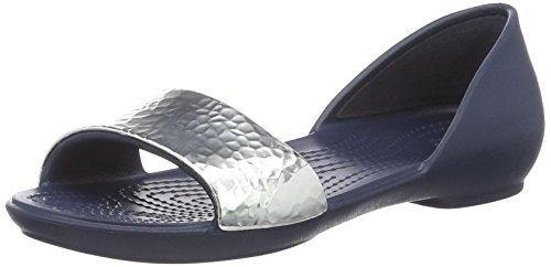 Crocs Damen Lina verzierte Dorsay Ballett Flat Marine / Silber