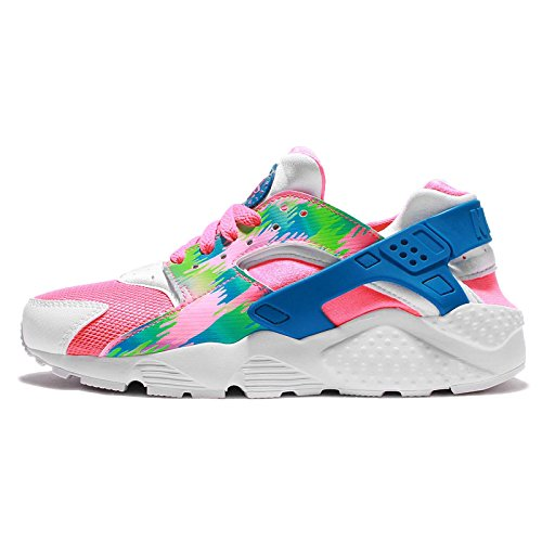 Nike HUARACHE RUN PRINT (GS) girls running-shoes 704946-601_4.5Y - PINK BLAST/PHOTO BLUE-ELECTRIC GREEN by NIKE