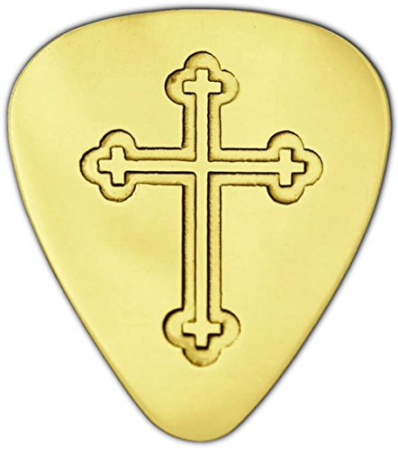Unique & Custom [0.38mm Thin Gauge - Traditional Style Semi Tip] Hard Luxury Guitar Pick Made of Genuine Solid Brass w/ Royal Fancy Orthodox Cross Design