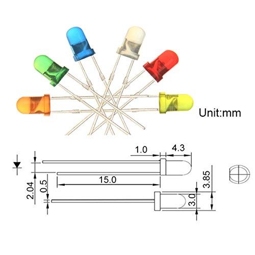 Chanzon 60 pcs6 colors x 10 pcs 5mm LED Diode Lights Arduino Assored Kit Pack DC
