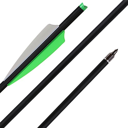 Huntingdoor Archery 20Inch 22 Inch Carbon Crossbow Arrows Hunting Practice Crossbow Bolts Fletched with Replacement Broadheads Tips Adjustable Nocks 12 pack (20 inch)