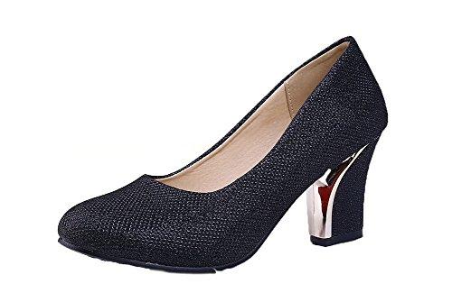 AgooLar Femme PU Cuir Tire Rond à Talon Correct Couleur Unie Chaussures Légeres Noir l6BIffn