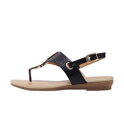 Flip Metal Thong Gladiator 802 Flat Women's Flop No Black Buckle Sandals Dress Beach qE8FdHwx