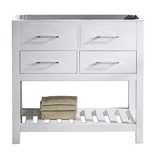Virtu USA Caroline Estate 36 inch Single Sink Bathroom Vanity Cabinet in White (Cabinet Only) - MS-2236-CAB-WH