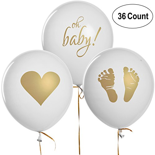 36 Baby Shower Balloons Decorations Footprint Heart & Oh Baby Design 12