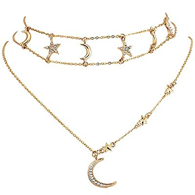 Chamqueen Multilayer Moon Rhinestone Pendant Clavicle Necklace Gold Layered Choker Necklaces for Women