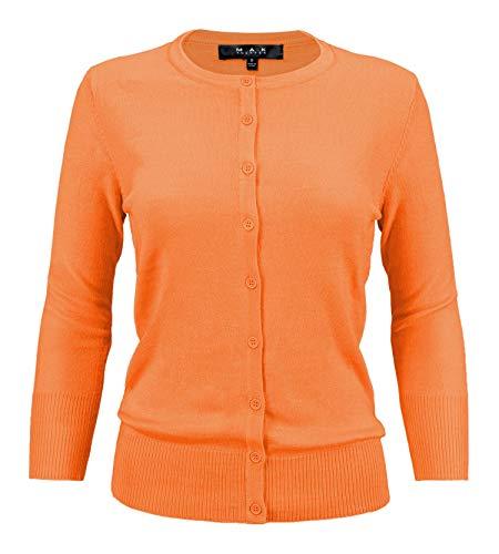 YEMAK Women's 3/4 Sleeve Crewneck Button Down Knit Cardigan Sweater CO079-L.Orange-M