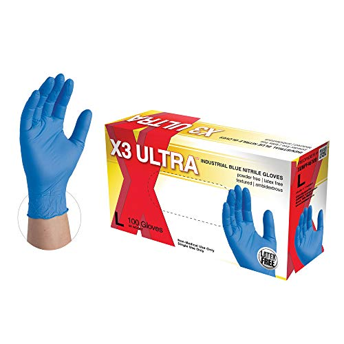 X3 Ultra Industrial Blue Nitrile Gloves – 2.5 mil, Latex Free, Powder Free, Textured, Disposable, Large, XUNPF46100BX…