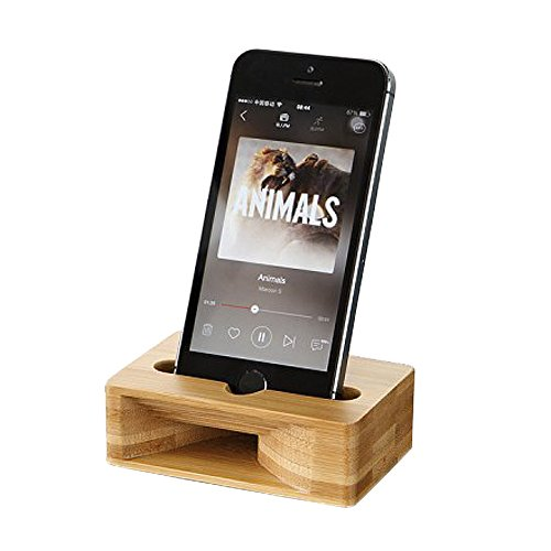 Glodeals Wooden Mobile Phones Support Creative Sound Amplifier Bamboo Amplification Stands for iphone 4 5SE 6 6S