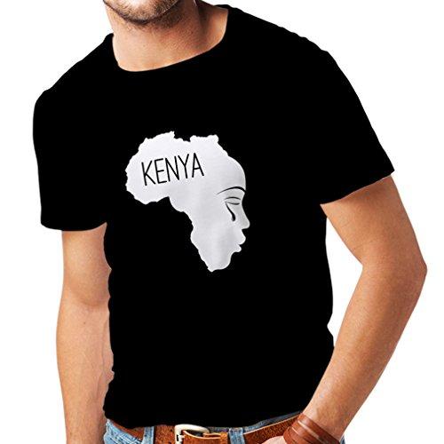 (N4199 Kenya - I Love You Funny Gift t-Shirt (M, Black White))