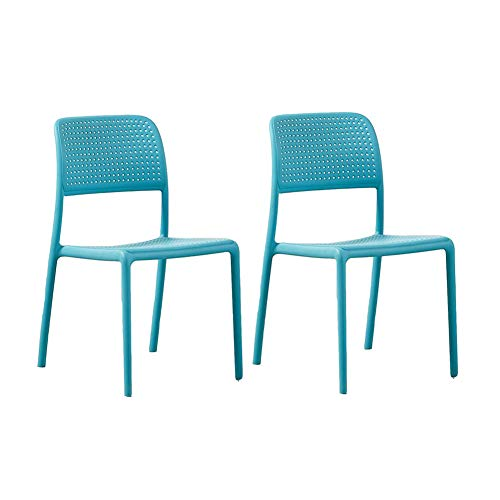 LBYMYB Dining Chair Adult Backrest Leisure Chair Backrest Plastic Chair Modern 2 Piece Set Chair (Color : Blue) Blue 2 Piece Stack Chair