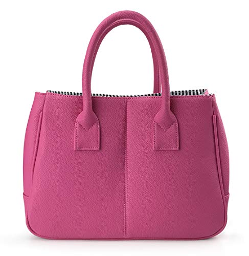 Hoxis Classical Office Lady Minimalist Pebbled Faux Leather Handbag Tote/Magnetic Snap Purse(Hot Pink) ()