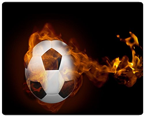 Rikki Knight Fire Surrounding Soccer Ball Design on 20'' x 16'' High Definition Museum Quality Almunimum Print - Metal Art Print - with Floating Block Wall Hangers (Proudly Made in the USA) by Rikki Knight