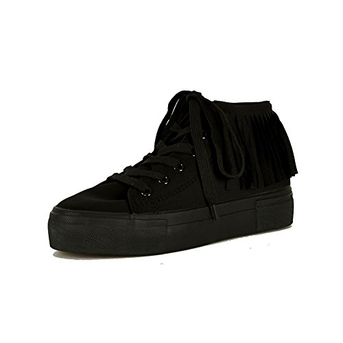 Las señoras lona-top encaje formadores / botas con flecos detalle Negro
