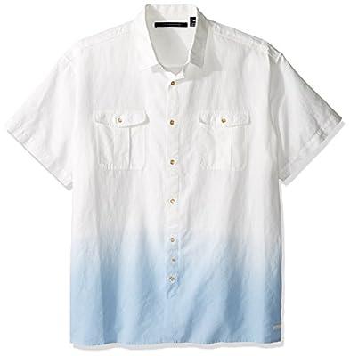 Sean John Men's Big and Tall Short Sleeve Linen Dip Shirt
