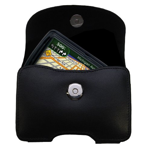 - Gomadic Brand Horizontal Black Leather Carrying Case for the Garmin Nuvi 855 with Integrated Belt Loop and Optional Belt Clip