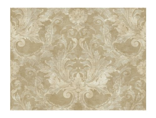 York Wallcoverings GL4627SMP Brandywine Aida Damask 8-Inch x 10-Inch Wallpaper Memo Sample, Antique Gold/Pale Gray - Classic Acanthus Leaves Wallpaper
