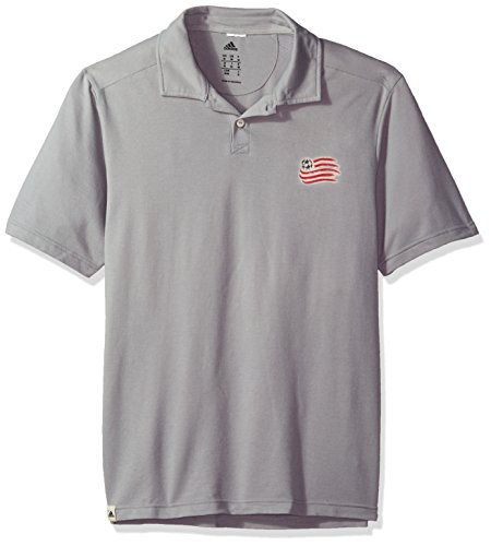 adidas MLS New England Revolution Adult Men Worn S/Polo, Large, Grey