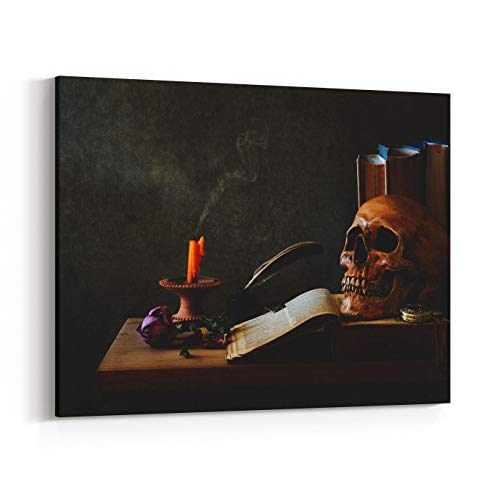 Rosenberry Rooms Canvas Wall Art Prints - Still Life Art Photography On Human Skull Skeleton with Desk (30 x 24 inches) ()