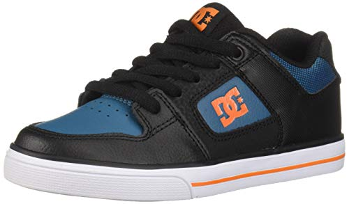 DC Boys' Pure Skate Shoe, Black/Orange/Blue, 1 M US Little Kid ()