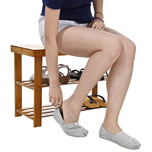 Price comparison product image Bamboo Stool Shoe Cabinet 2-Tier Wooden Shoe Organizer Rack Bamboo Entryway Bench Seat Storage Stool For Bedroom Bathroom Living Room - Shipped from USA !!!