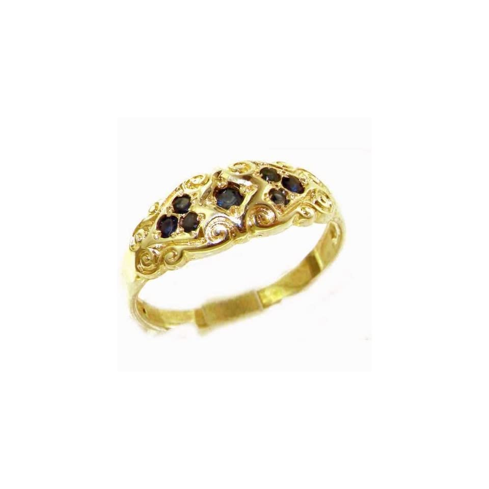 Solid Yellow 9K Gold Ladies Natural Sapphire Vintage Style Carved Band Ring   Finger Size 4   Sizes 4 to 12