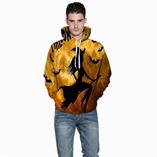 Jessie storee Helloween Hooded Sweatshirt 3D Printed Witch Bat Silhouette Print Pullover Hoodie for Men Couples Unisex Horror Clothing Large Size Sweater Loose Baseball Uniform Tide,Yellow,L (List Of All Black Colleges And Universities)