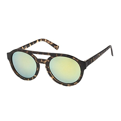 Sonnenbrille Panto Round Glasses Flat Top 400 UV bunt getigert verspiegelt grau AQJT4Vb2