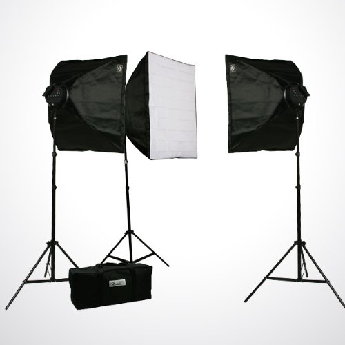 ePhoto Pro Studio Video 4500W Digital Photography Studio 3 Softbox Lighting Kit Light Set and Carrying Case (Digital Studio Lighting)