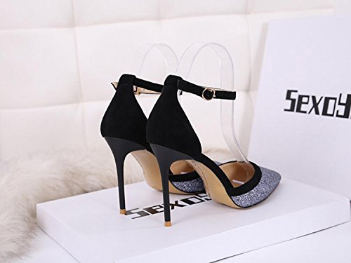 Zapatos Fiesta los Aire de ZXMXY Zapatos Club Puntas de de Lentejuelas de Sexy Metal Primavera y de de Plata al Zapatos Simple Sandalias Verano de Tacones de Altos Mujer Libre gvqYwwdp