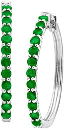 1 1/2 ct Natural Emerald Elongated Hoop Earrings in Sterling Silver