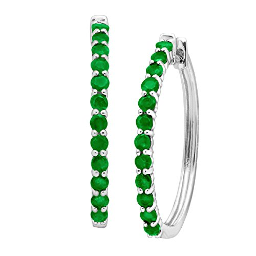 1-12-ct-Natural-Emerald-Elongated-Hoop-Earrings-in-Sterling-Silver