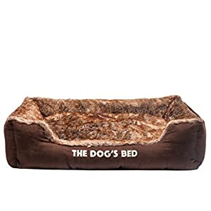 The Dog's Bed, Premium Plush Soft Dog Bed Brown XL, Fully Washable, Hyper-Allergenic, Extremely Soft & Comfortable – The Ultimate in Pet Luxury: