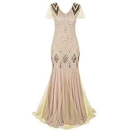 PrettyGuide Women 1920s Ball Gown Flapper Cocktail Mermaid Plus Size Evening Dress