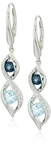 Blue Topaz Lab (Sterling Silver London Blue Topaz and Sky Blue Topaz and Lab Created White Sapphire Lever-back Earrings)