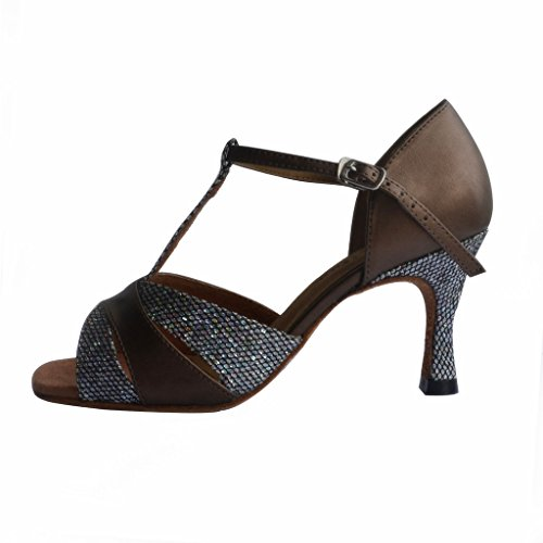 Jig Foo Sandals Open-toe Latin Salsa Tango Ballroom Dance Shoes for Women with 2.7