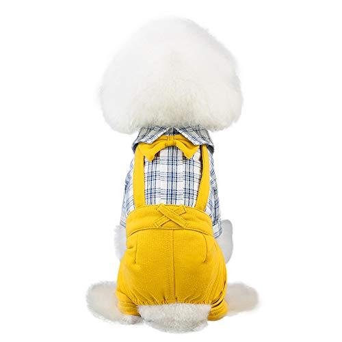Small Dogs Cats Pet Clothes Pet Dog Bowknot Dress Dog Cat Cute Spring Summer Gentleman's Bib Pants Pet Clothing Buffalo Plaid Shirt Sweater Khaki Yellow Overalls Pants