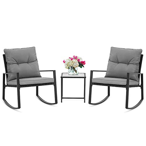 SUNCROWN Outdoor 3-Piece Rocking Bistro Set: Black Wicker Furniture-Two Chairs with Glass Coffee ...