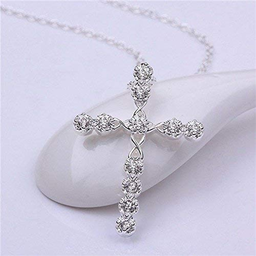 (Women Round Crystal Silver Plated Cross Pendant Choker Necklace Chain Jewelry)