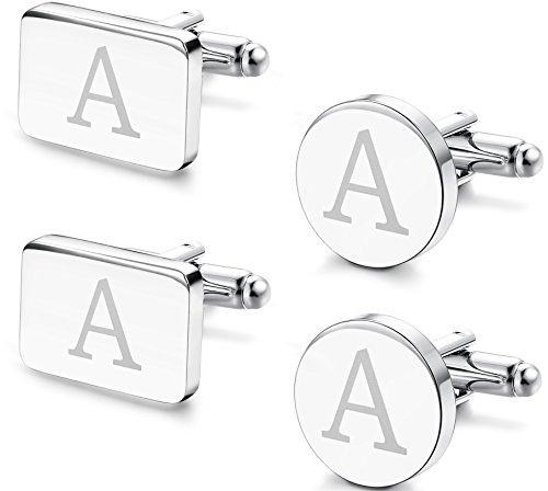 FIBO STEEL 2 Pairs Classic Engraved Initial Cufflinks for Men Alphabet Letter Cufflinks Set Wedding A