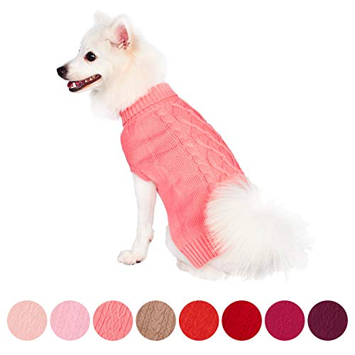 Blueberry Pet Classic Cable Knit Rosy Pink Dog Sweater, Back Length 12'', Pack of 1 Clothes for Dogs by Blueberry Pet