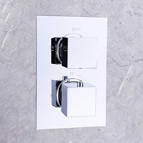 KES Bathroom Thermostatic Mixing Valve Body and Trim Anti-Scalding G 1/2 Modern Square, Polished Chrome