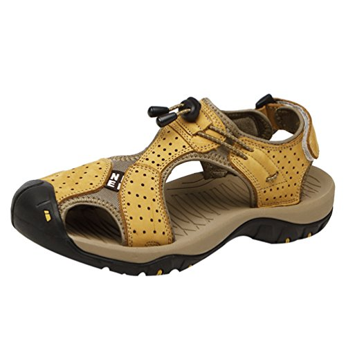 Brown Summer Wxposed Breathable Sandals LINNUO Shoes Hiking 1light Toe Athletic Adjustable Men's Beach Walking Roman Outdoor for Fisherman Shoes qwxxEUFz7