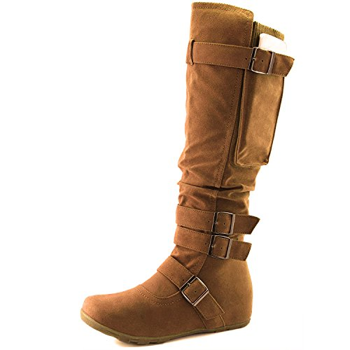 DailyShoes Women's Mid Calf Slouch Hidden Wedge Comfortable Slip On Round Toe Flat Heel Knee High Boots, 9