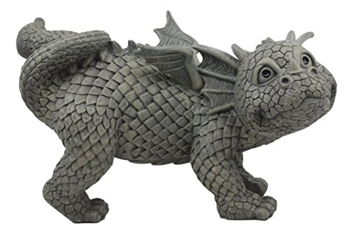 Ebros Whimsical Peeing Garden Dragon Statue 12″ Long Cute Naughty Baby Dragon Cocking Leg Faux Stone Resin Finish Figurine