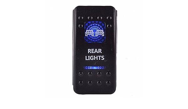5 pin Laser Backlit Rocker Switch 2X4 4X4 20A 12V ON//OFF LED RED