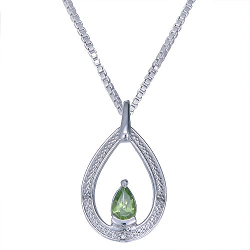 Sterling Silver Peridot Diamond Pendant With 18 Inch Chain