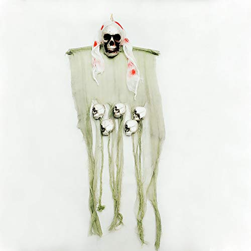 Hallween Decoration, Hanging Skeleton Head Props Scary Ghost Head Curtain for Haunted House Party by Veryke (White) ()